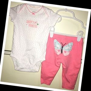 Carters 3m baby girl 2pc. Outfit set🎀EUC🎀